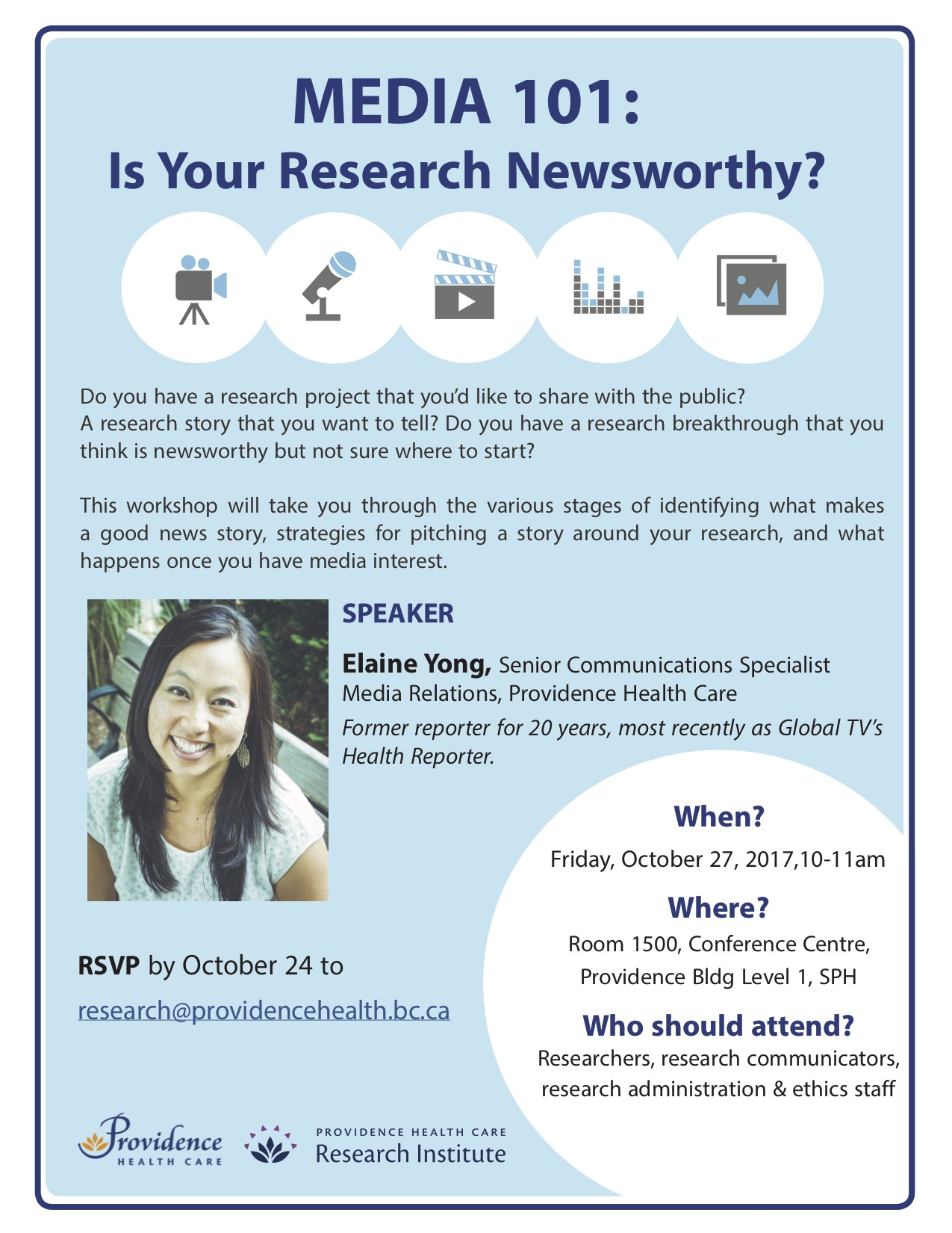 Media 101: Is your research newsworthy? @ Room 1500, Conference Centre, Providence Building Level 1, St. Paul's Hospital