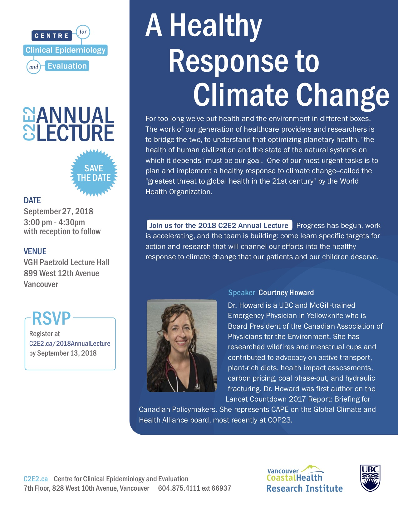 C2E2 Annual Lecture: A healthy response to climate change