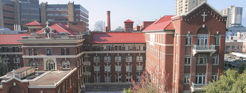 An aerial view of St. Paul's Hospital, Vancouver, home to CHÉOS