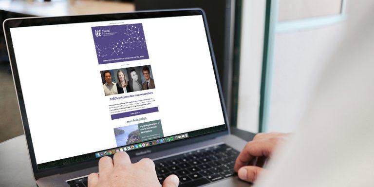 Laptop computer displaying newsletter